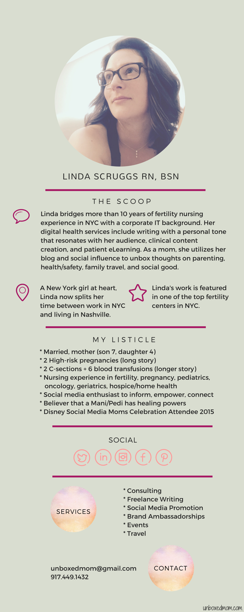 Linda Scruggs Media Kit/One-Pager