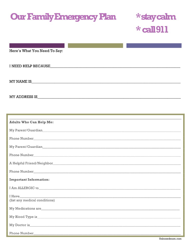 A family emergency plan with free printable unboxed mom for Family fire safety plan