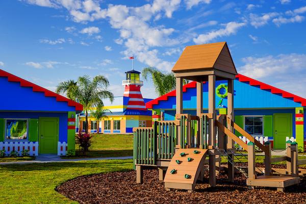 LEGOLAND Beach Retreat - playground equipment by Lego themed houses